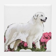 great pyrenees in the garden Tile Coaster