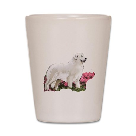 great pyrenees in the garden Shot Glass