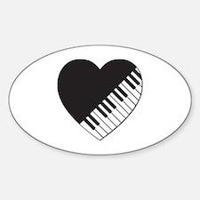 Piano Heart Sticker (Oval)