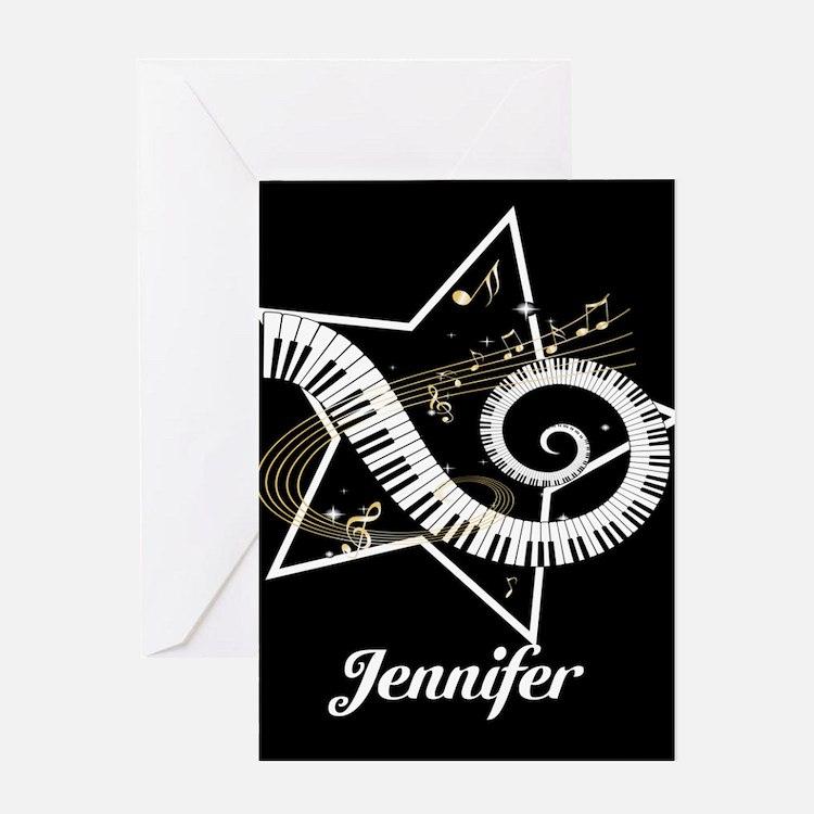 Music star gold black Greeting Card