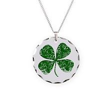 Vintage, Four Leaf Clover Necklace Circle Charm