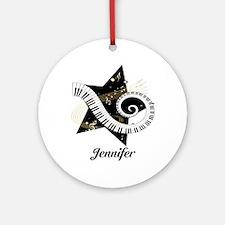 Music star gold black Ornament (Round)