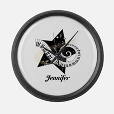 Music star gold black Large Wall Clock
