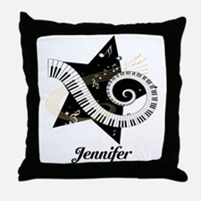 Music star gold black Throw Pillow