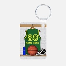Personalized Basketball Green Keychains