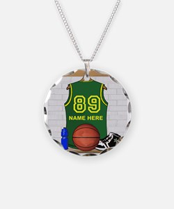 Personalized Basketball Green Necklace
