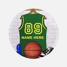 """Personalized Basketball Green 3.5"""" Button"""