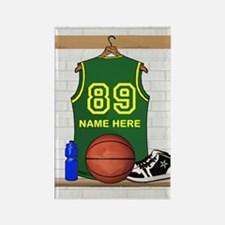 Personalized Basketball Green Rectangle Magnet