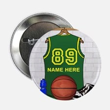 "Personalized Basketball Green 2.25"" Button (10 pac"
