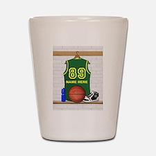 Personalized Basketball Green Shot Glass