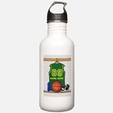 Personalized Basketball Green Water Bottle
