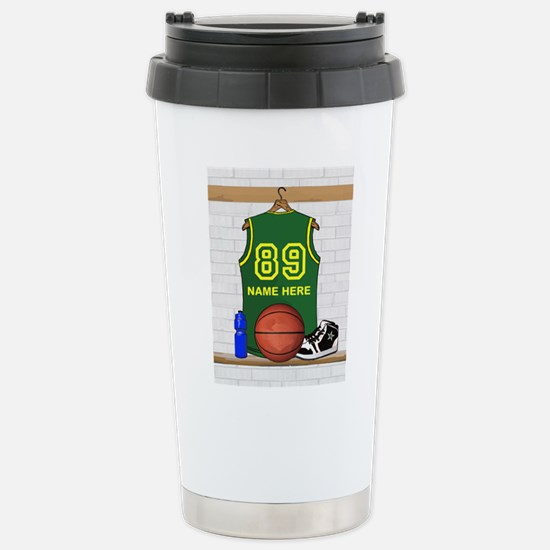 Personalized Basketball Green Stainless Steel Trav