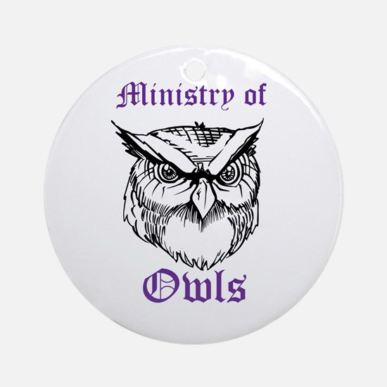 Owl Ministry Blk/Purple Ornament (Round)