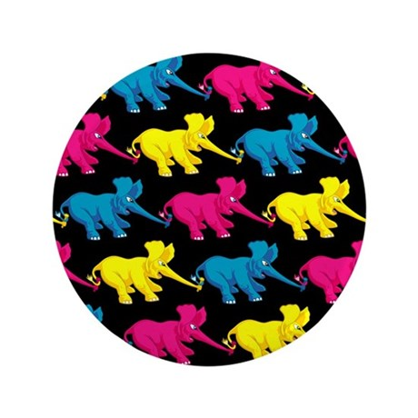 "Three Elephant Tug of War 3.5"" Button"