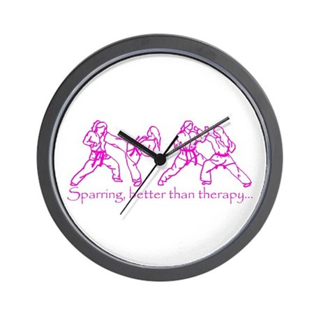 Sparring, better than therapy Wall Clock