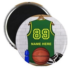 "Personalized Basketball Green 2.25"" Magnet (100 pa"