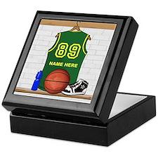 Personalized Basketball Green Keepsake Box