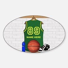 Personalized Basketball Green Sticker (Oval)