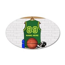 Personalized Basketball Green 22x14 Oval Wall Peel