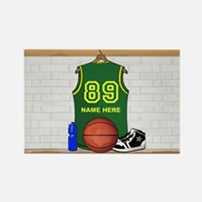 Personalized Basketball Green Rectangle Magnet (10