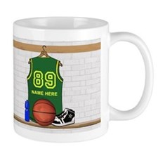 Personalized Basketball Green Mug
