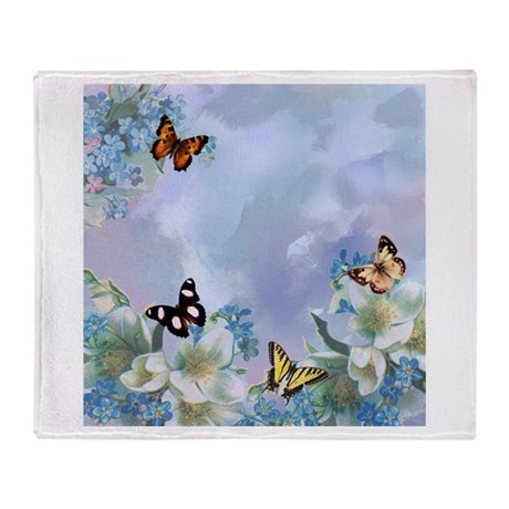 Blues and Butterflies Throw Blanket