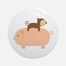 Baby Monkey Riding Backwards Ornament (Round)