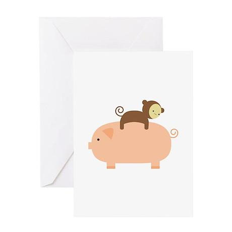 Baby Monkey Riding Backwards Greeting Card