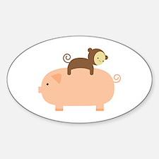 Baby Monkey Riding Backwards Sticker (Oval)