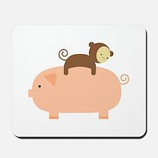 Baby Monkey Riding Backwards Mousepad