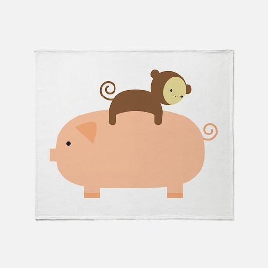 Baby Monkey Riding Backwards Throw Blanket