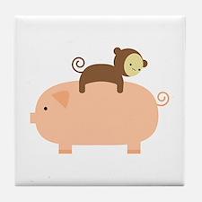 Baby Monkey Riding Backwards Tile Coaster