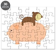 Baby Monkey Riding Backwards Puzzle
