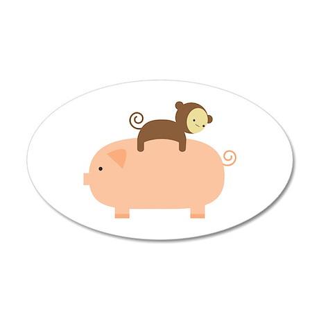 Baby Monkey Riding Backwards 22x14 Oval Wall Peel