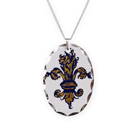 Enchanted Gold Fleur de lis Necklace Oval Charm
