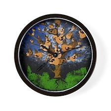 Acoustic Guitar Tree (Color) Wall Clock