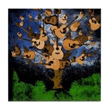 Acoustic Guitar Tree (Color) Tile Coaster