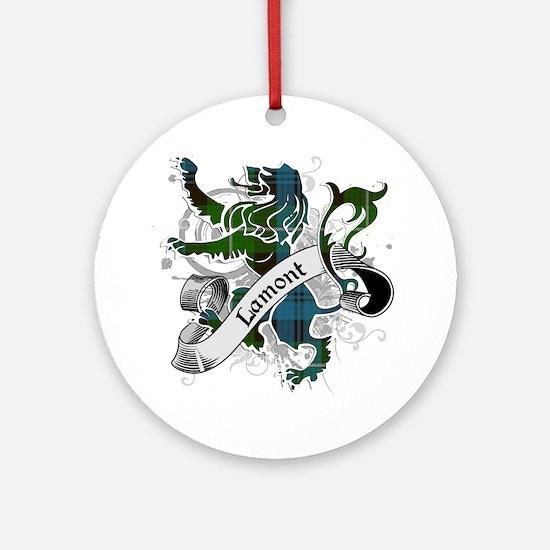 Lamont Tartan Lion Ornament (Round)