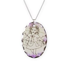 Guardian Angel of Necklace Oval Charm