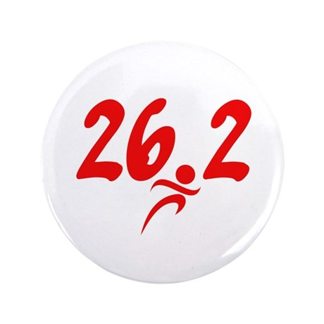 """Red 26.2 marathon 3.5"""" Button (100 pack)"""