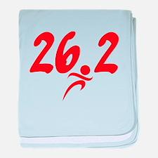 Red 26.2 marathon baby blanket