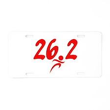Red 26.2 marathon Aluminum License Plate