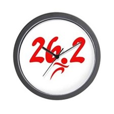 Red 26.2 marathon Wall Clock