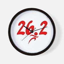 Red 26.2 marathon Wall Clock