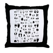 North American Animal Tracks Throw Pillow