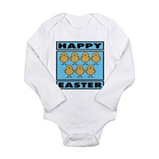 Happy Easter Chicks - Blue Long Sleeve Infant Body