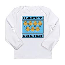 Happy Easter Chicks - Blue Long Sleeve Infant T-Sh