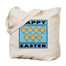 Happy Easter Chicks - Blue Tote Bag