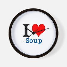 Funny I heart soup Wall Clock