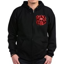 Skull in Flames (red), Zip Hoodie